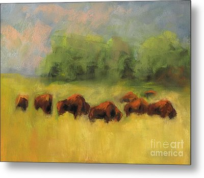 Metal Print featuring the painting Where The Buffalo Roam by Frances Marino