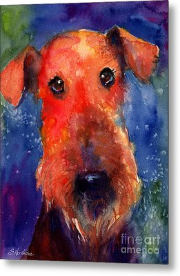 Whimsical Airedale Dog Painting Metal Print