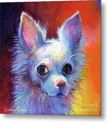 Whimsical Chihuahua Dog Painting Metal Print by Svetlana Novikova