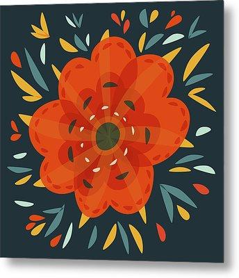 Whimsical Decorative Orange Flower Metal Print by Boriana Giormova