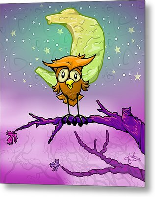 Whimsical Night Owl Metal Print by Andy Bauer