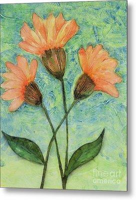 Whimsical Orange Flowers - Metal Print by Helen Campbell