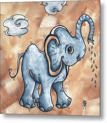 Whimsical Pop Art Childrens Nursery Original Elephant Painting Adorable By Madart Metal Print by Megan Duncanson