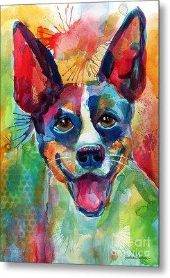 Whimsical Rat Terrier Dog Painting Metal Print by Svetlana Novikova