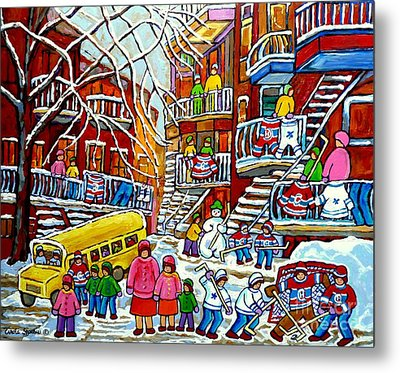 Whimsical Winter Wonderland Snowy School Bus Montreal Story Book Scene Hockey Art Carole Spandau     Metal Print by Carole Spandau
