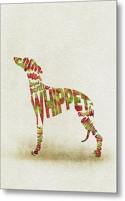 Metal Print featuring the painting Whippet Watercolor Painting / Typographic Art by Inspirowl Design