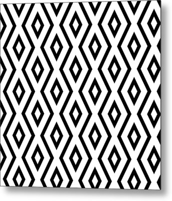 White And Black Pattern Metal Print by Christina Rollo