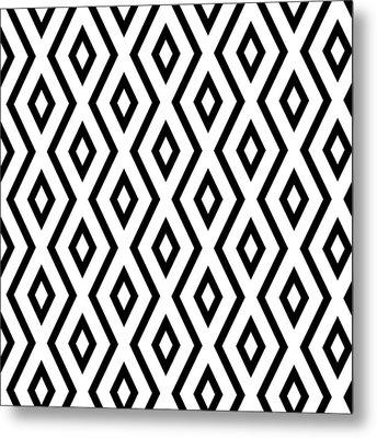 White And Black Pattern Metal Print