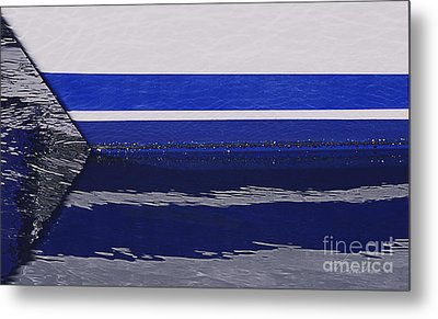 White And Blue Boat Symmetry Metal Print