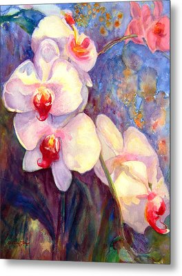 White And Fuchsia Orchids Metal Print by Estela Robles