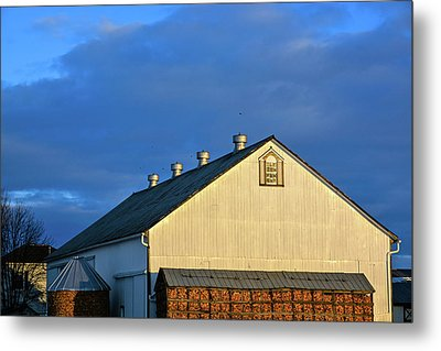 White Barn At Golden Hour Metal Print