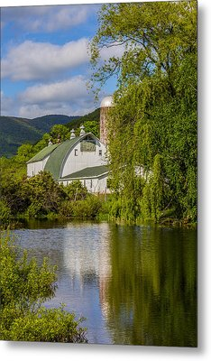 Metal Print featuring the photograph White Barn Reflection In Pond by Paula Porterfield-Izzo