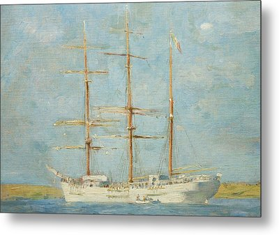 White Barque Metal Print by Henry Scott Tuke
