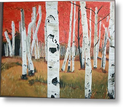 Metal Print featuring the painting White Birches by Betty-Anne McDonald