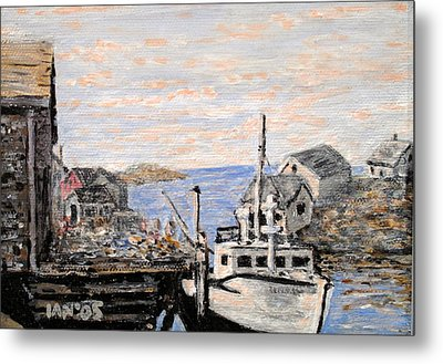 Metal Print featuring the painting White Boat In Peggys Cove Nova Scotia by Ian  MacDonald