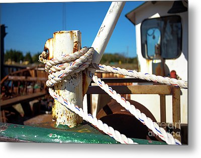 Metal Print featuring the photograph White Boat Rope by John Rizzuto