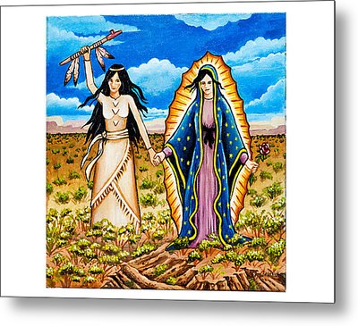White Buffalo Woman And Guadalupe Metal Print by James Roderick
