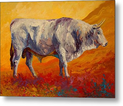 White Bull Metal Print by Marion Rose