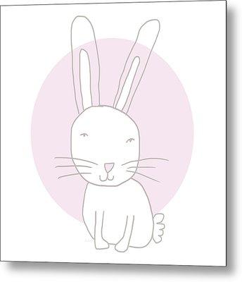 White Bunny On Pink- Art By Linda Woods Metal Print by Linda Woods