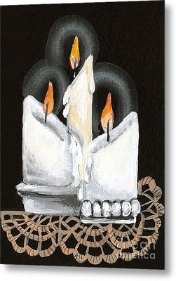 White Candle Trio Metal Print by Elaine Hodges