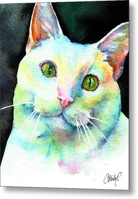 Metal Print featuring the painting White Cat by Christy Freeman