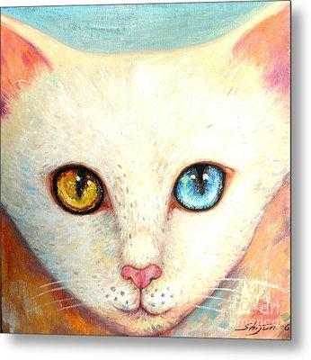 White Cat Metal Print by Shijun Munns