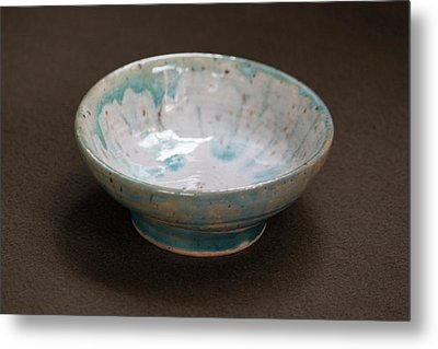 White Ceramic Bowl With Turquoise Blue Glaze Drips Metal Print by Suzanne Gaff