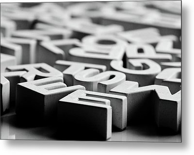 White Ceramic Letters Metal Print