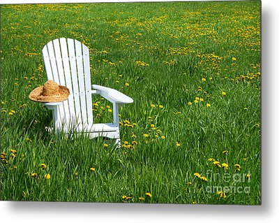 White Chair With Straw Hat Metal Print by Sandra Cunningham