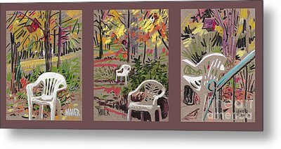 White Chairs And Birdhouses 1 Metal Print by Donald Maier