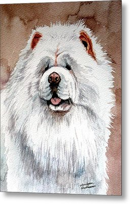 White Chow Chow Metal Print by Christopher Shellhammer