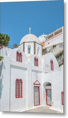 Metal Print featuring the photograph White Church At Fira by Antony McAulay