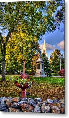 White Church In Autumn - Hopkinton Nh Metal Print by Joann Vitali