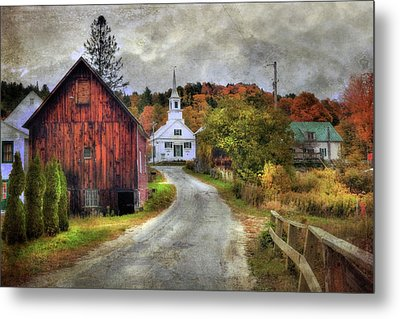 White Church In Autumn - Vermont Country Scene Metal Print by Joann Vitali