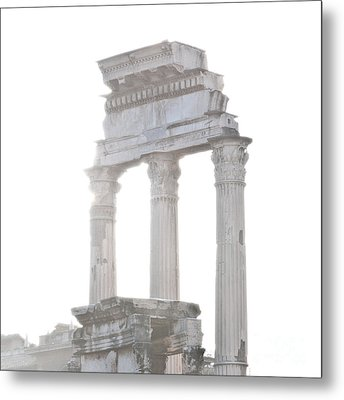 White Columns Temple Of Castor And Pollux In The Forum Rome Italy Metal Print by Andy Smy