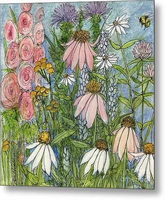 Metal Print featuring the painting White Coneflowers In Garden by Laurie Rohner