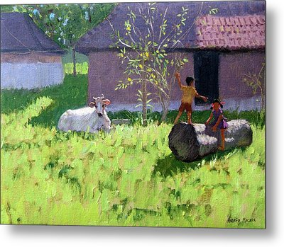 White Cow And Two Children Metal Print by Andrew Macara