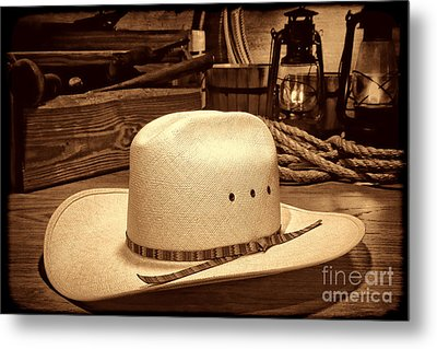 White Cowboy Hat In A Barn Metal Print by American West Legend By Olivier Le Queinec