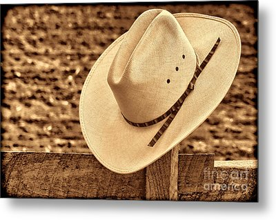 White Cowboy Hat On Fence Metal Print by American West Legend By Olivier Le Queinec