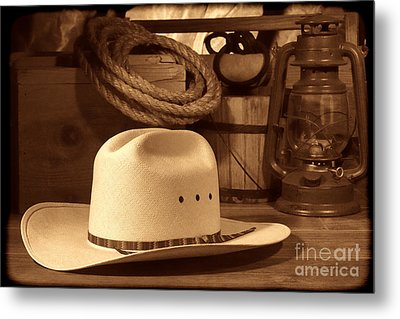 White Cowboy Hat On Workbench Metal Print by American West Legend By Olivier Le Queinec