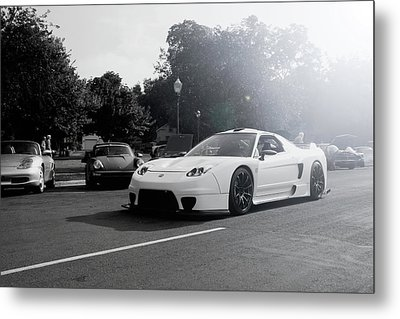 Metal Print featuring the photograph White Custom Nsx  by Joel Witmeyer