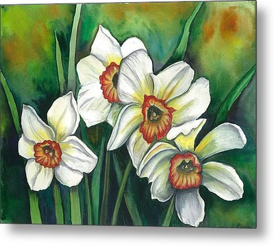 White Daffodils Metal Print