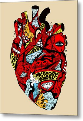 White Diamond Heart Metal Print by Kenal Louis