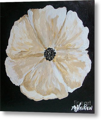 White Flower On Black Metal Print by Marsha Heiken