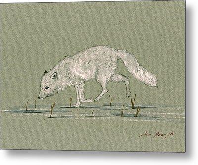 White Fox Walking Metal Print