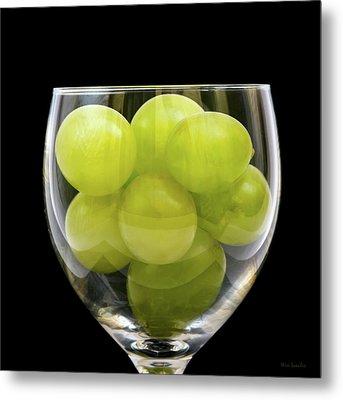 White Grapes In Glass Metal Print by Wim Lanclus