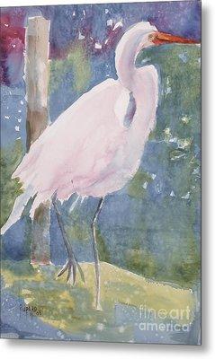 White Heron Metal Print