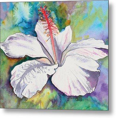 White Hibiscus Waimeae Metal Print