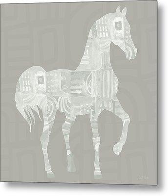 White Horse 1- Art By Linda Woods Metal Print