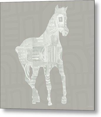 White Horse 3- Art By Linda Woods Metal Print
